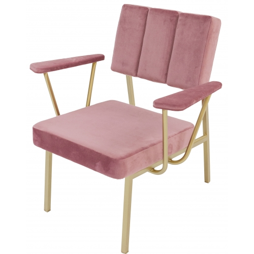 Fauteuil Eileen rose poudré en velours made in France signé Blomkal