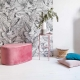 Pouf goutte d'eau en velours rose made in France