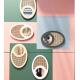 Miroir en cannage rotin et bois de bouleau style nordique